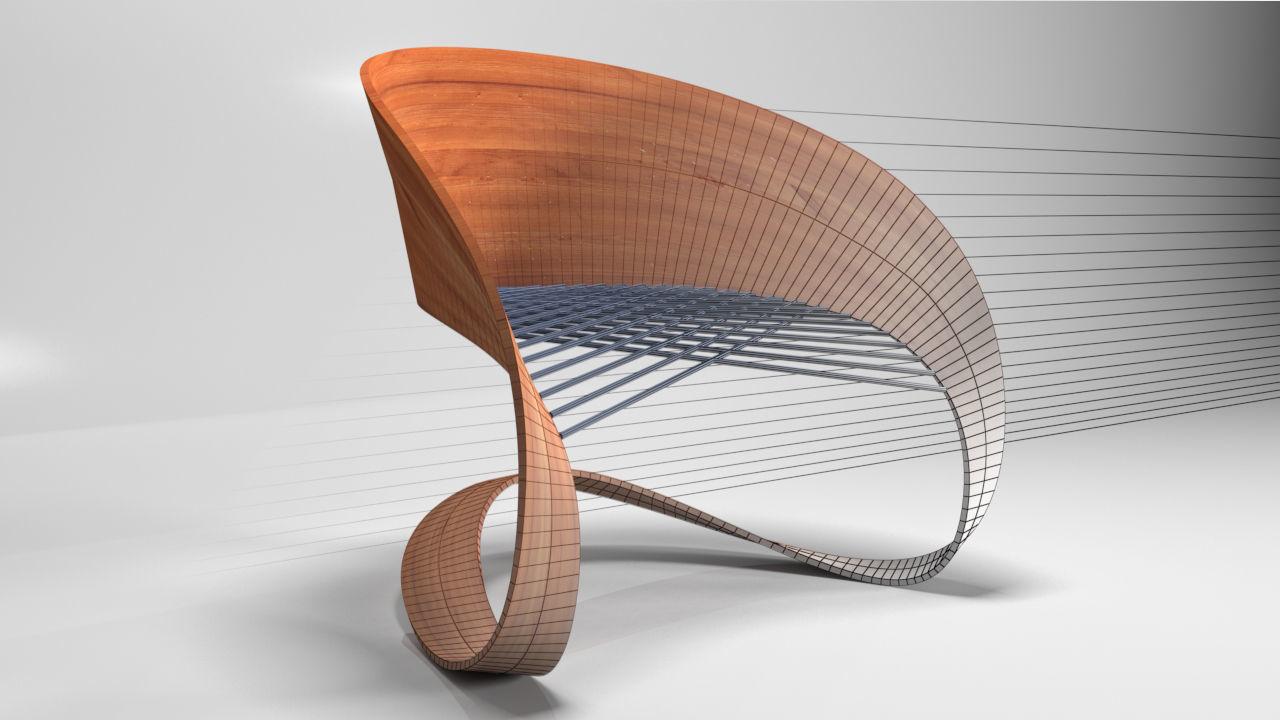 Modern Wood Chair 3d Model