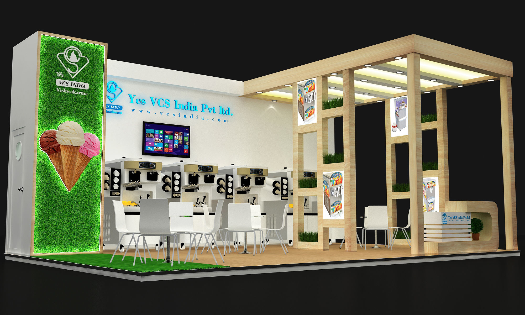 8x5 3 side open exhibition stand