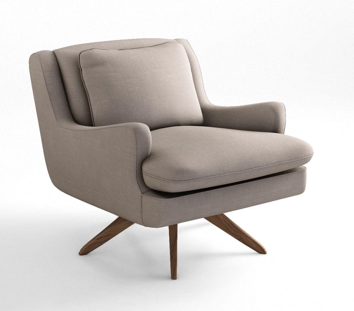 Vladimir Kagan Venetian Lounge Armchair 3d Model Max Obj Mtl Tga 1