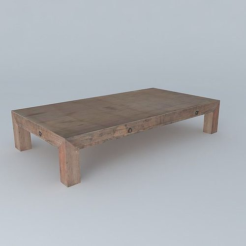 3d wooden coffee table cgtrader for Coffee table 3d model
