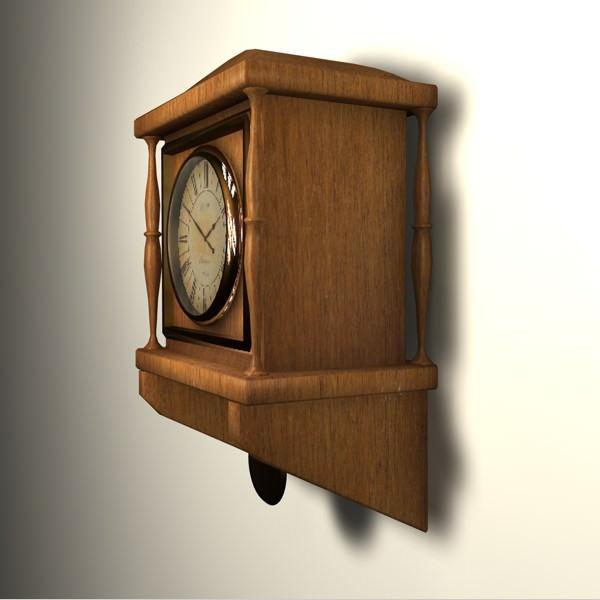 wooden wall clock 3d model obj 3ds fbx c4d 4