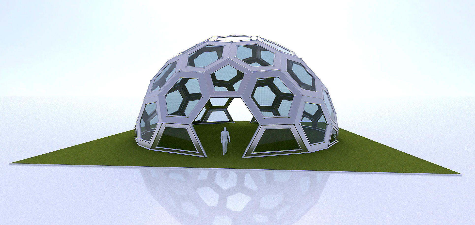 Geodesic Dome with frame and glass panels