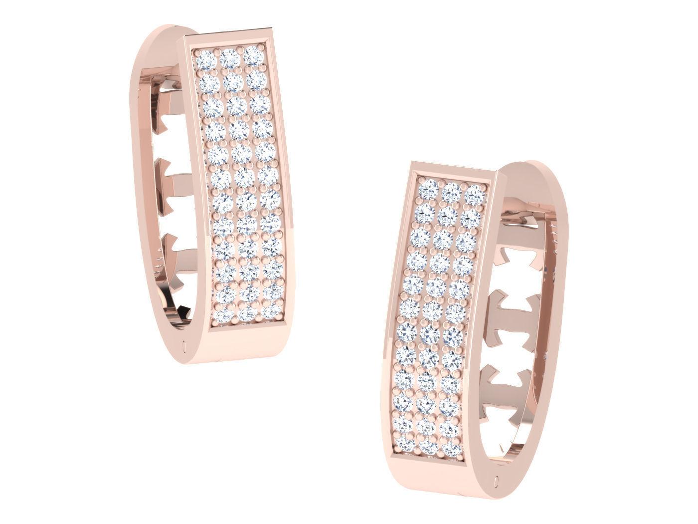 Women hoop huggie Earrings 3dm stl render detail