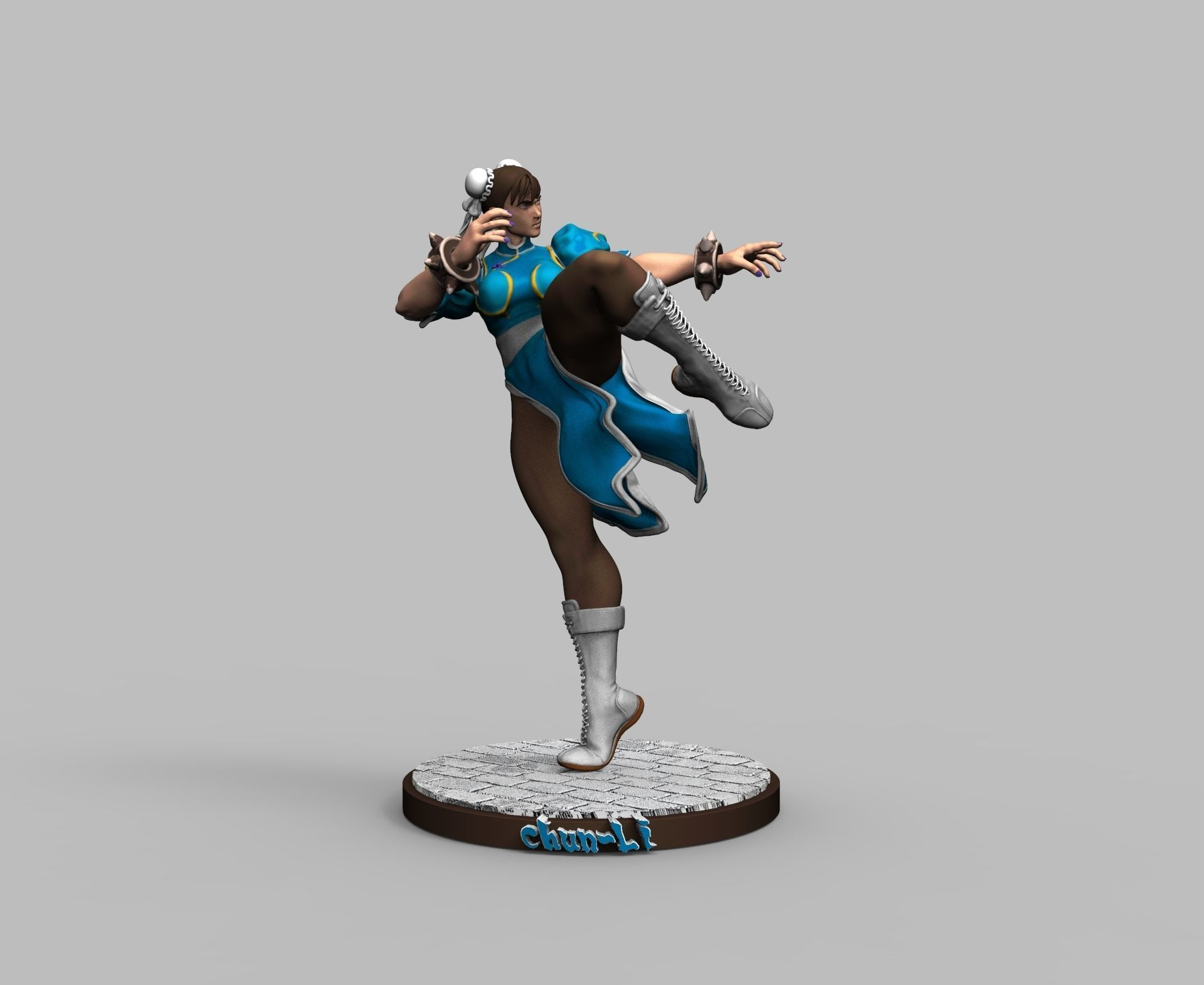 Street Fighter Chun Li 3d Printing Model Diorama 1