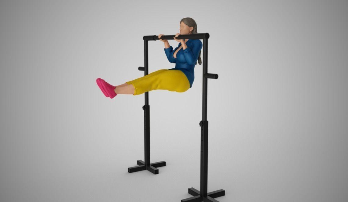 Sportive Girl Hanging on Horizontal Bar
