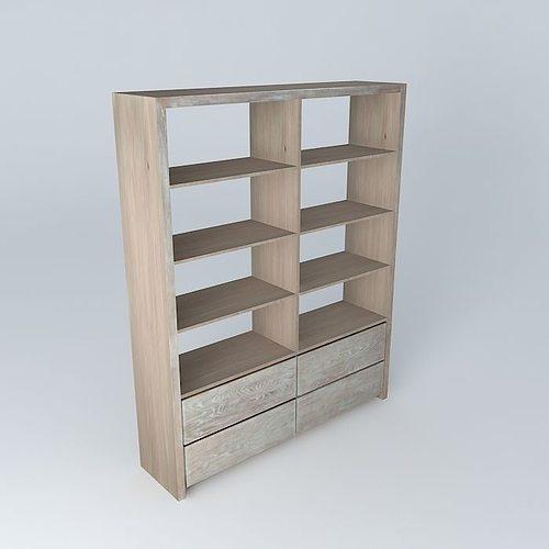 White Wooden Bookcase Model