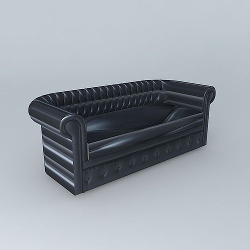 Chesterfield sofa black 3D | CGTrader