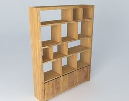Wooden bookcase 3D model cabinets