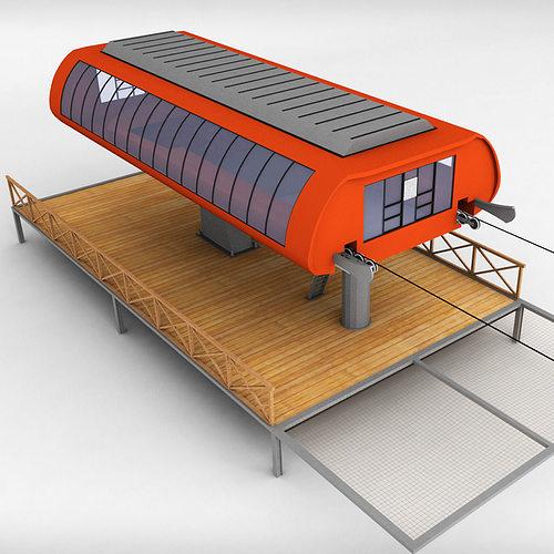 bench Ski lift station 3D   CGTrader