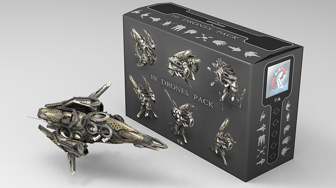 10 drone scifi pack 3d model low-poly max obj fbx mtl tga 1