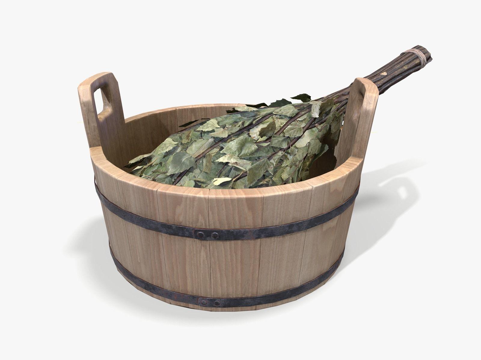 Sauna Bowl and Birch Besom