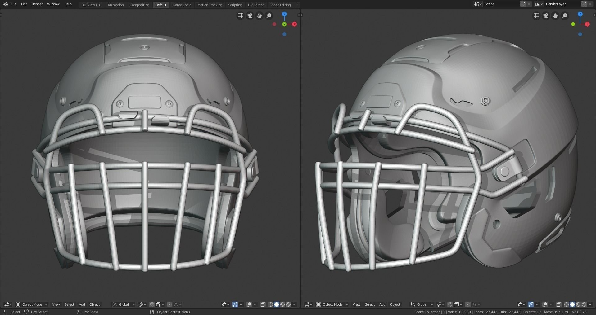 Modern Football Helmet with various Facemasks