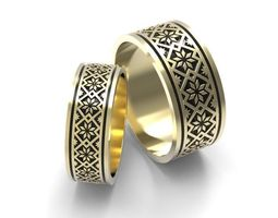 3D print model Wedding bands with tracery 3