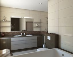Nice Bathroom With Sauna 3d Model