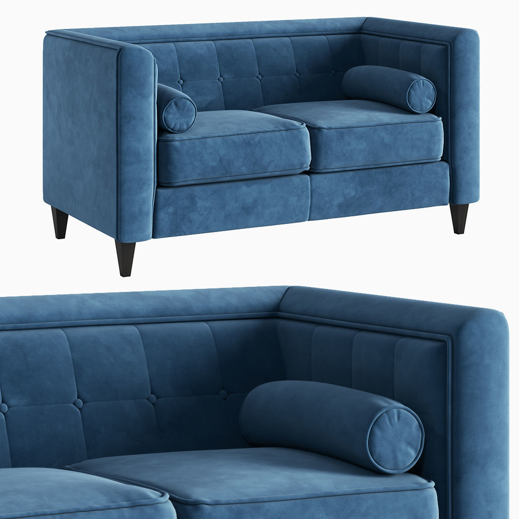 Sofa Taylor Light Blue Velvet Loveseat 3d Model Cgtrader