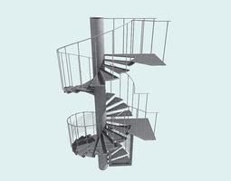 3d spiral fire escape staircase