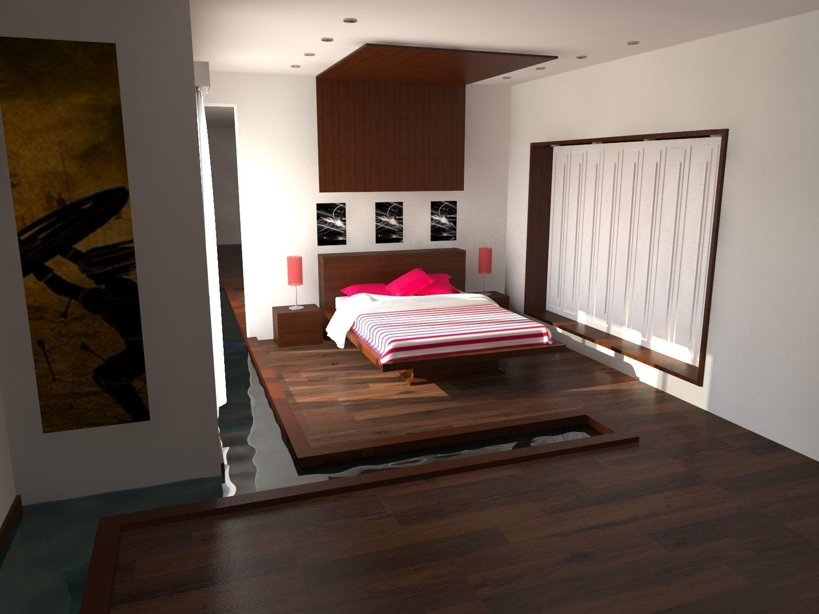 Bedroom Interior With Water Render 3d Model Max 1 ...