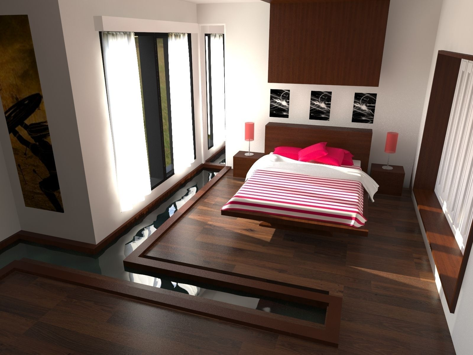 Bedroom Interior With Water Render 3d Cgtrader