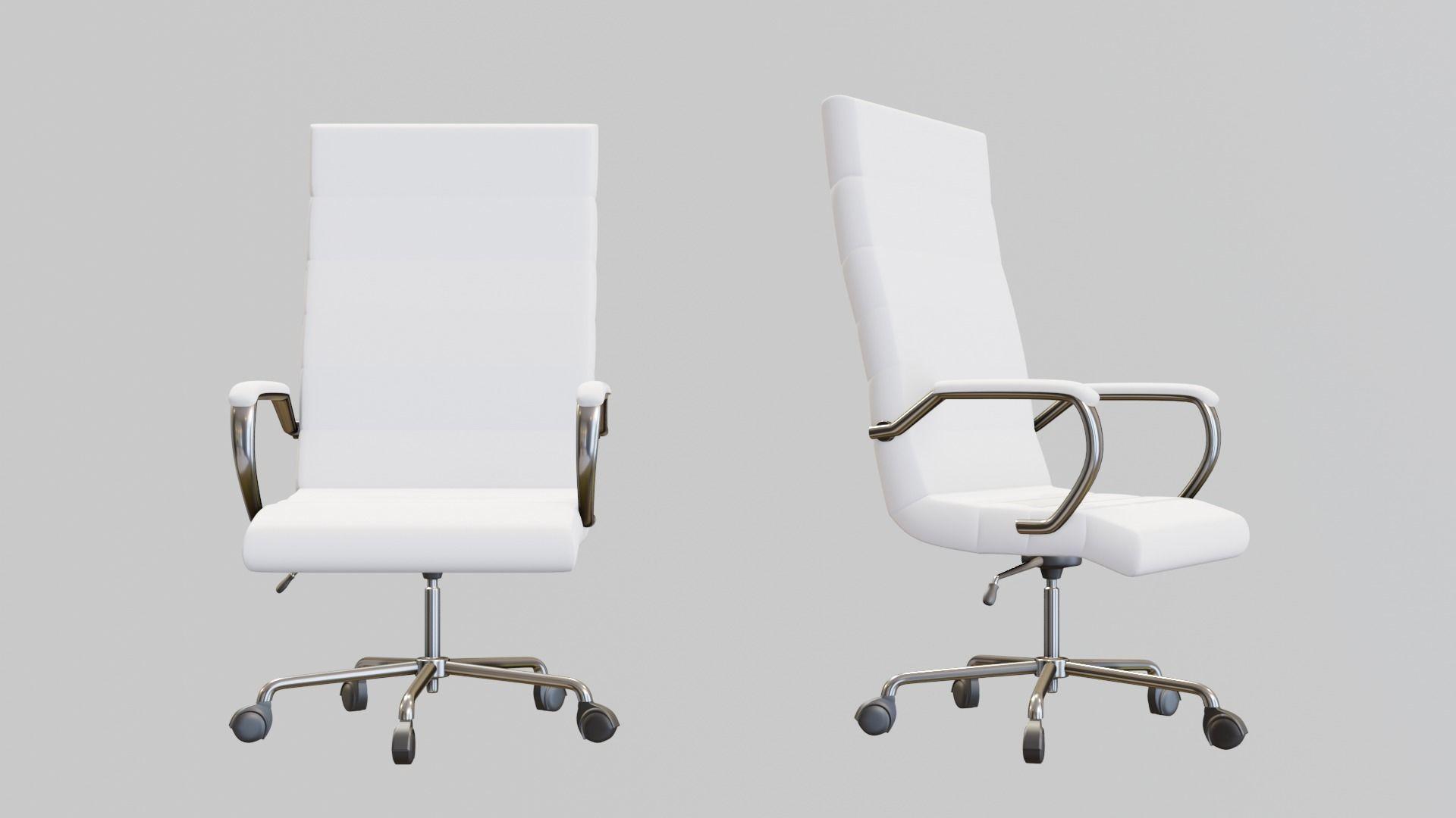 3d Model Modern White Office Chair Cgtrader