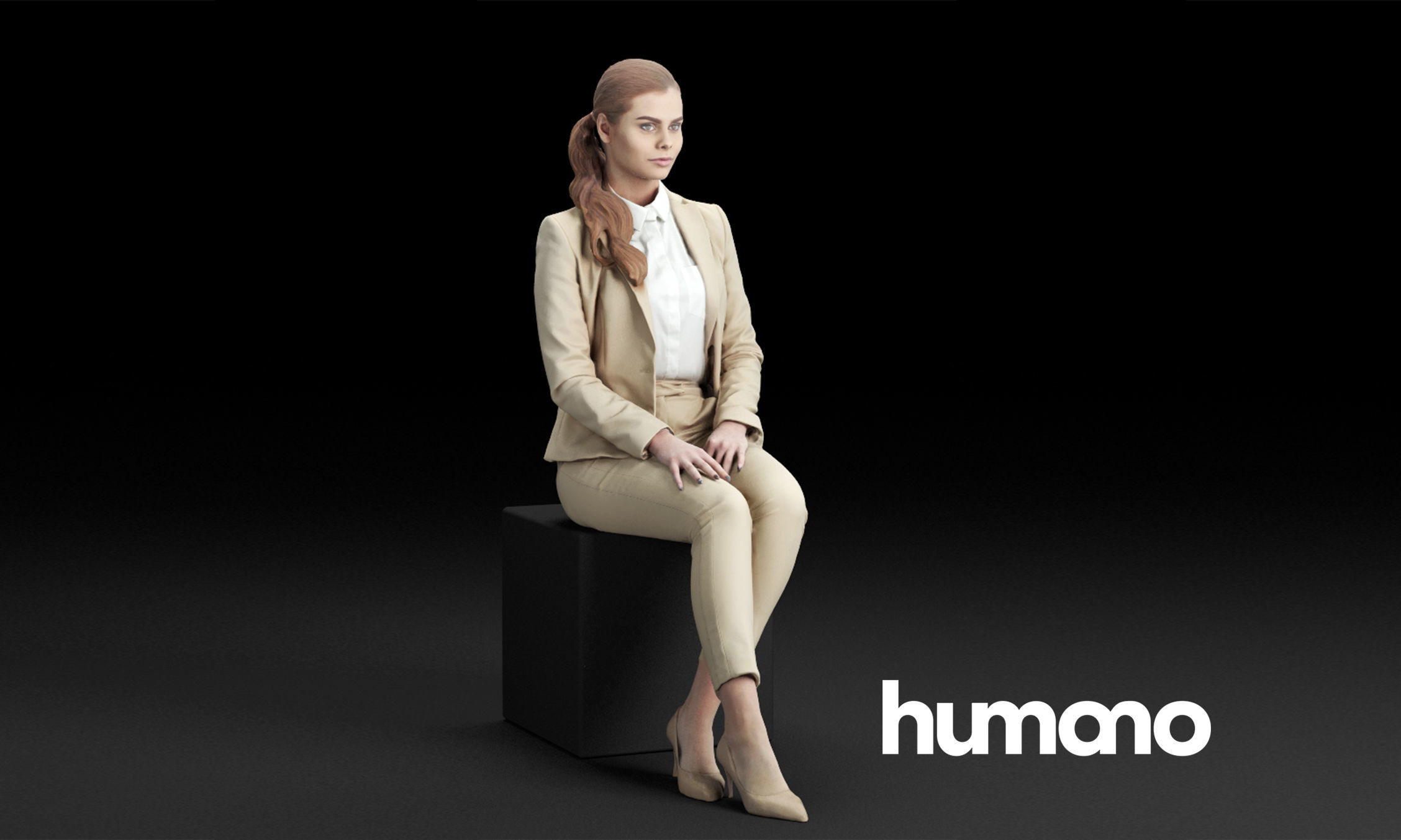 Humano Elegant business woman stitting and looking 0118