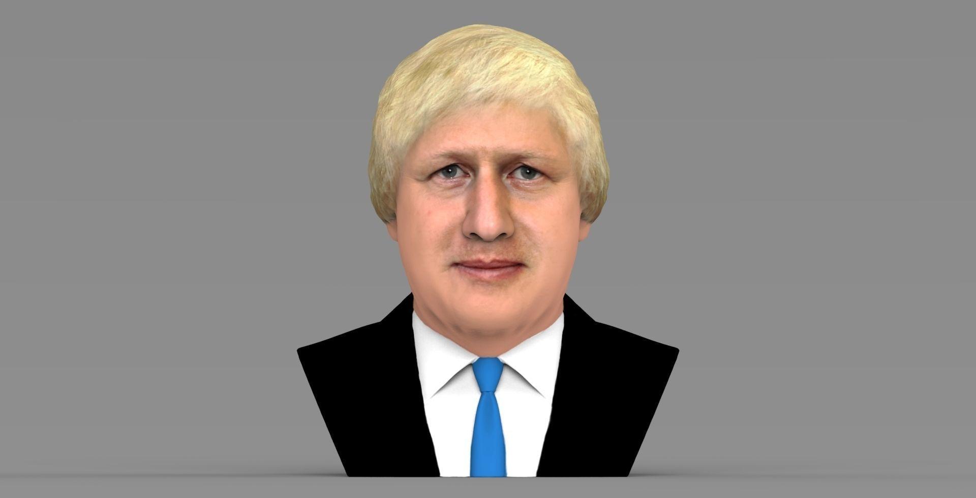 Boris Johnson bust ready for full color 3D printing