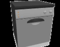3D Silver dishwasher