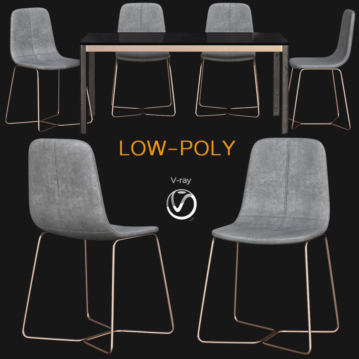 3d Model Realtime Slope Leather Dining Chair West Elm