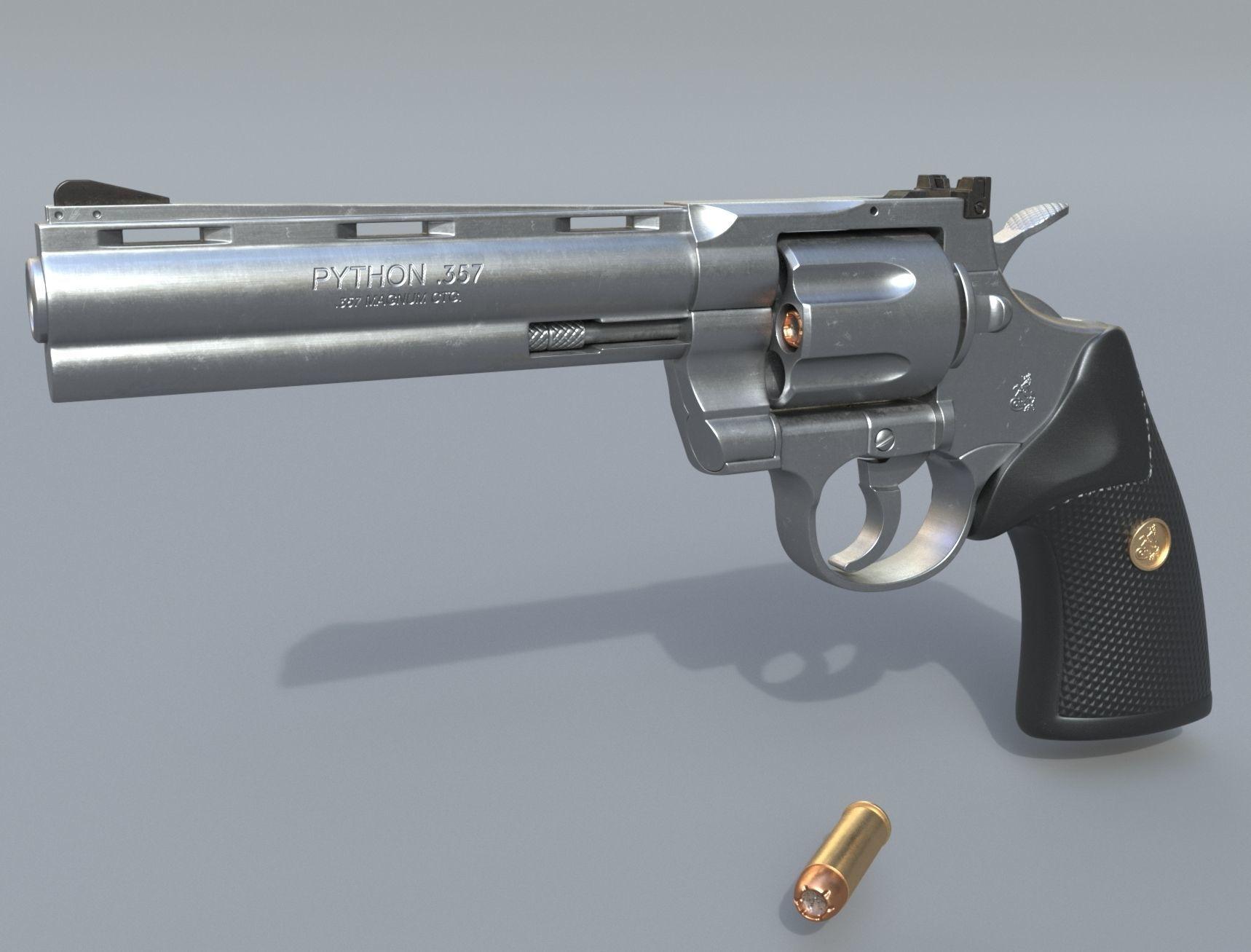 Colt Python 357 - Revolver gun - High poly