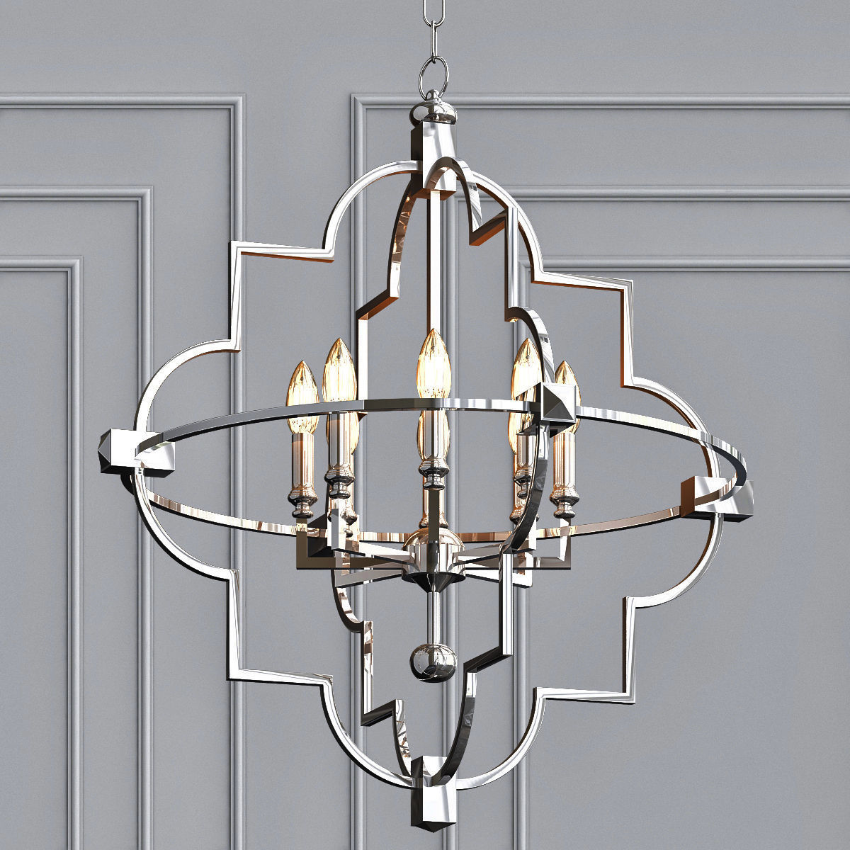 3d Open 8 Light Chandelier Cgtrader