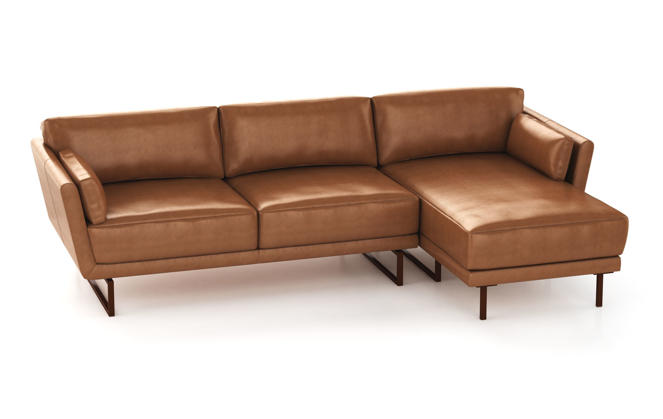 Tan Leather Modular Sofa