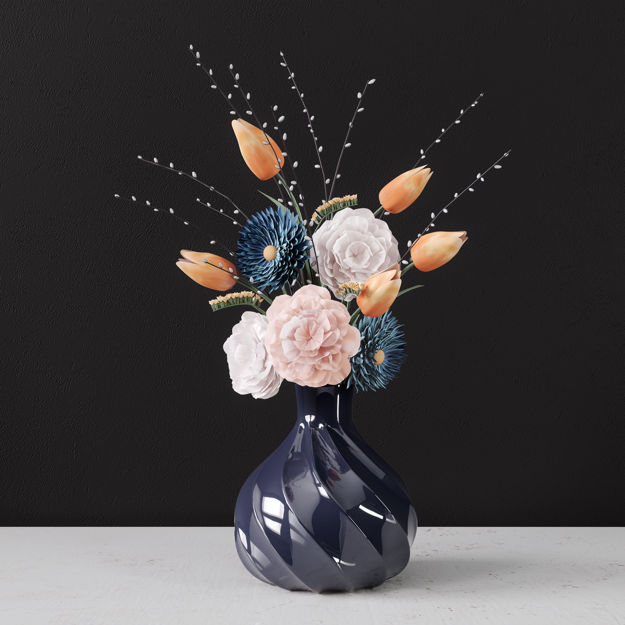 Decor bouquet of flowers in a glass vase