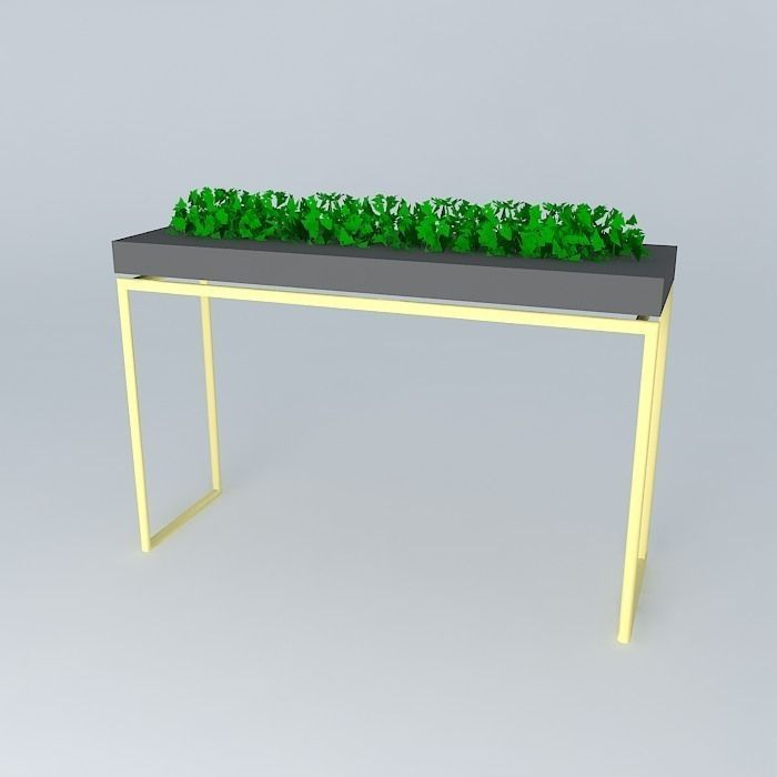 ... Skinny Gold Legs Bar Table With Plant 3d Model Max Obj 3ds Fbx Stl Skp  2 ...