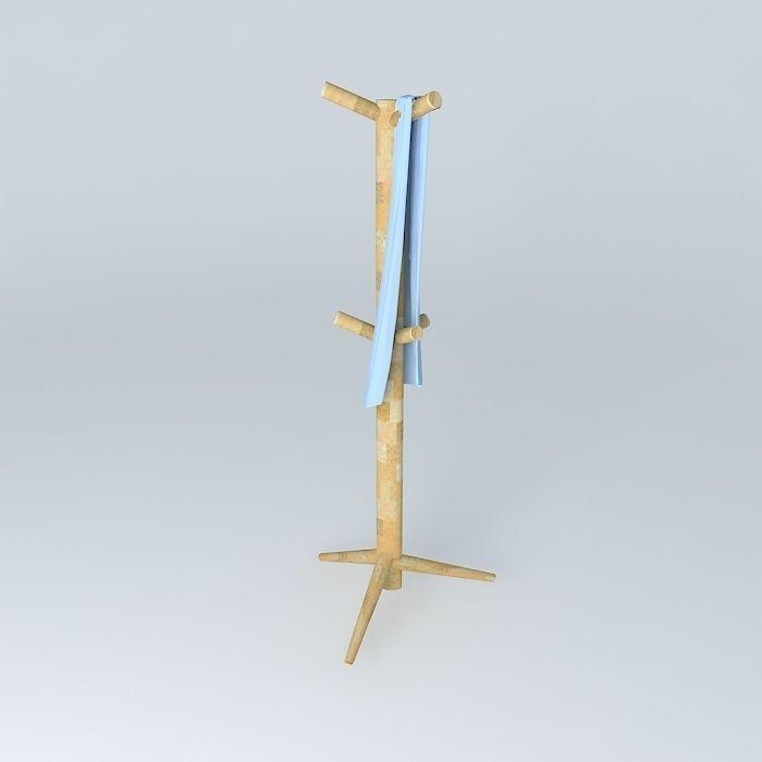 Coat rack with scarf free 3D Model MAX OBJ 3DS FBX STL DAE ...