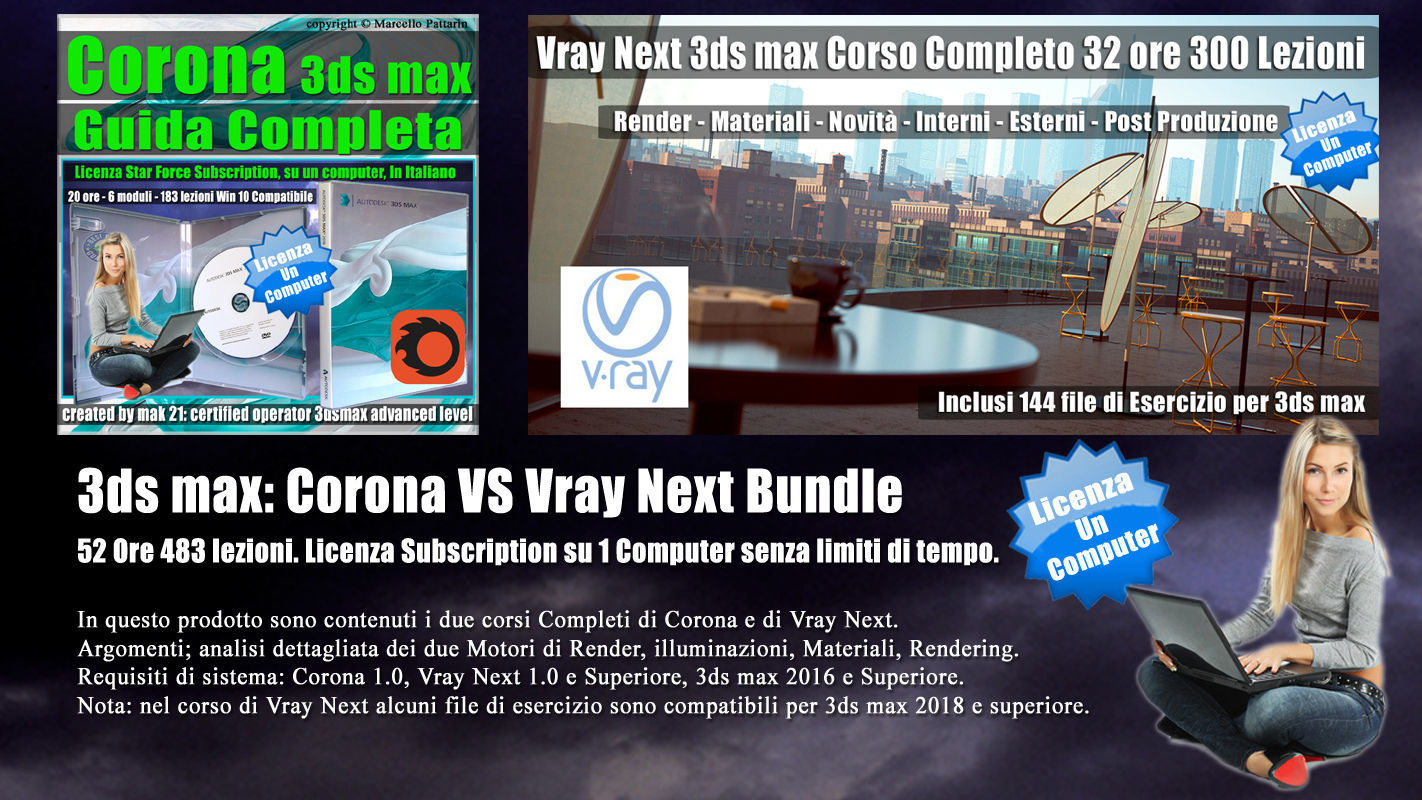 3ds max Corona VS Vray Next Bundle Subscription un Computer