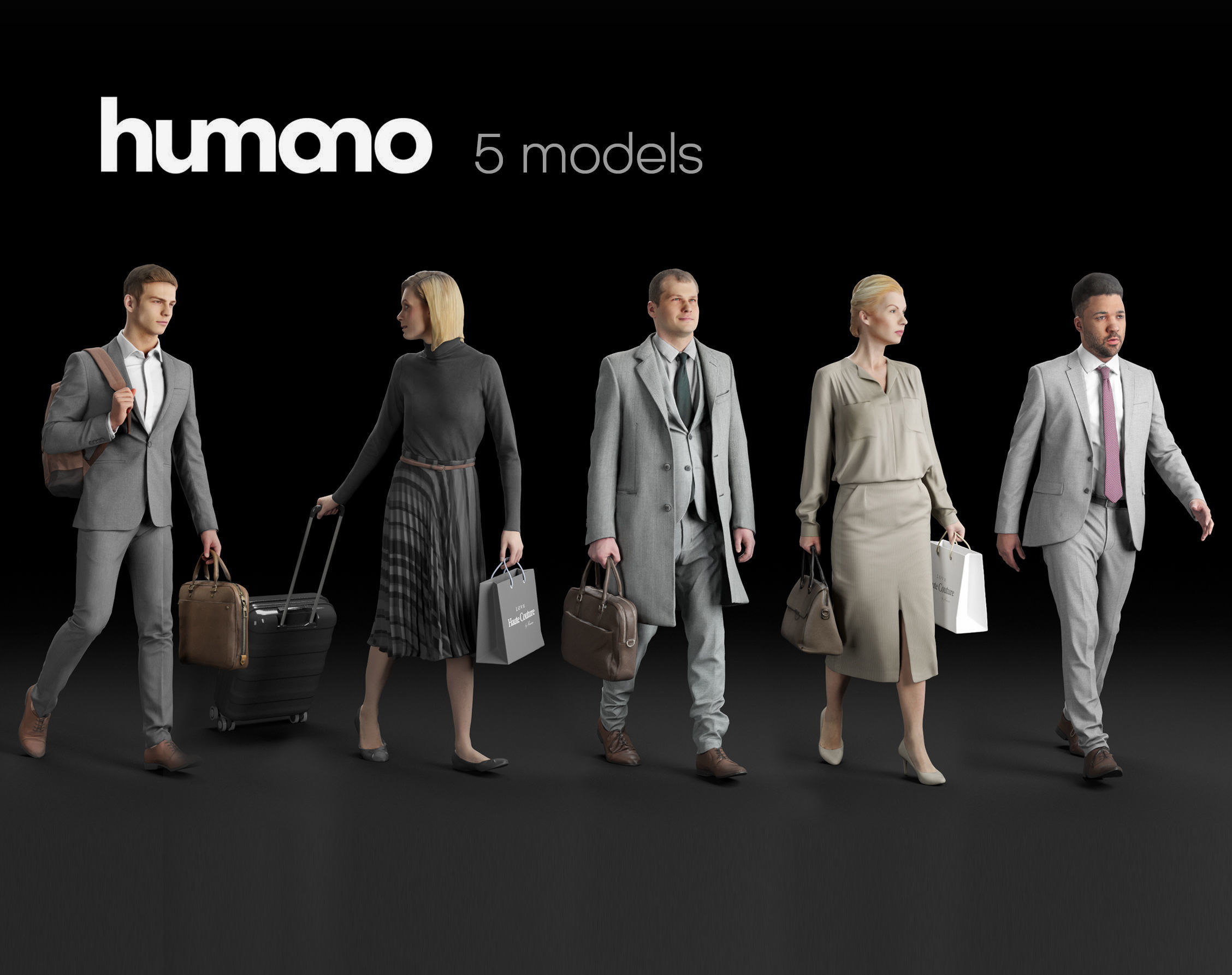 Humano 5-Pack - PEOPLE - STREET - TRAVELING - 5x 3D models 03A