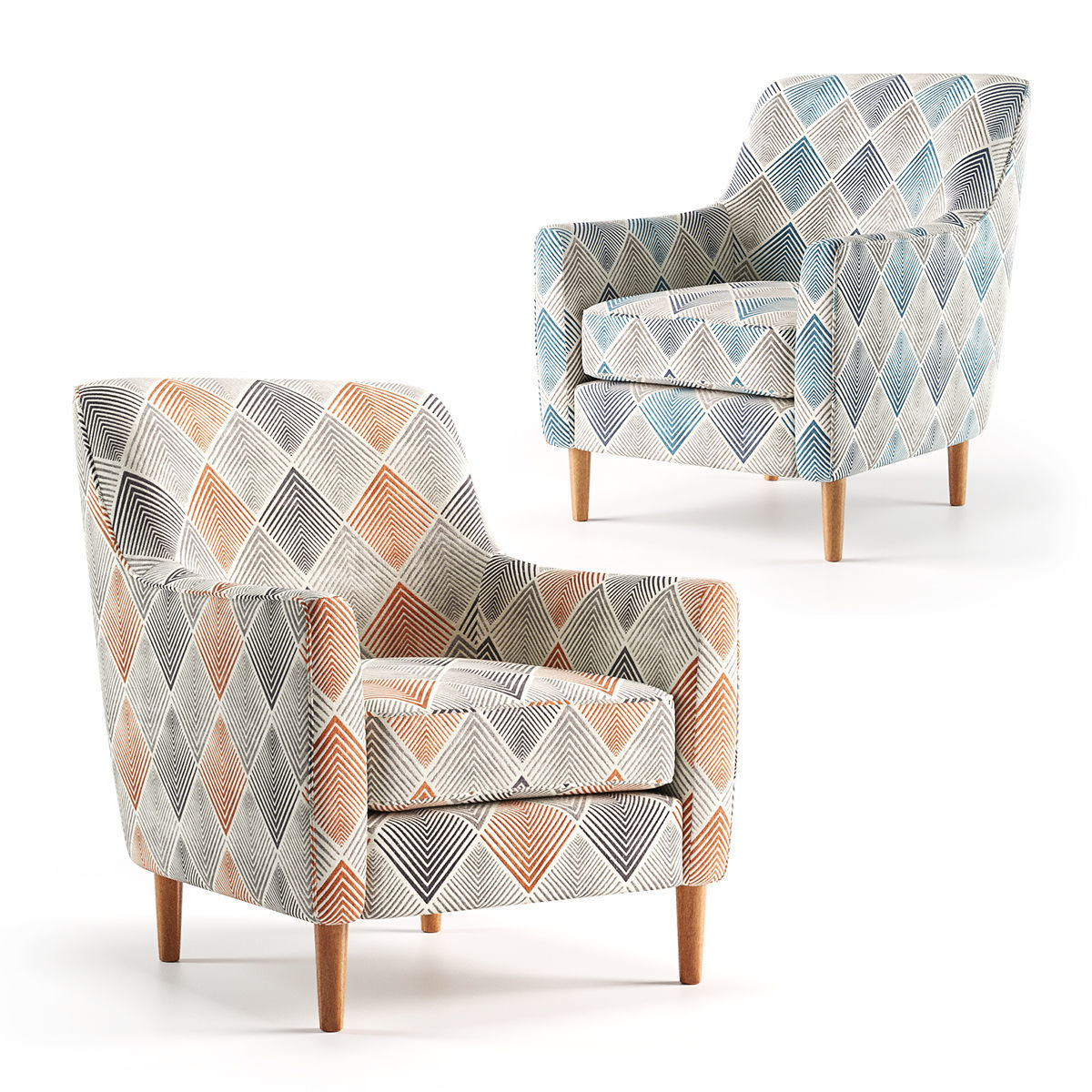 Groovy Sven Sunset And Denim Accent Chairs 3D Model Ibusinesslaw Wood Chair Design Ideas Ibusinesslaworg
