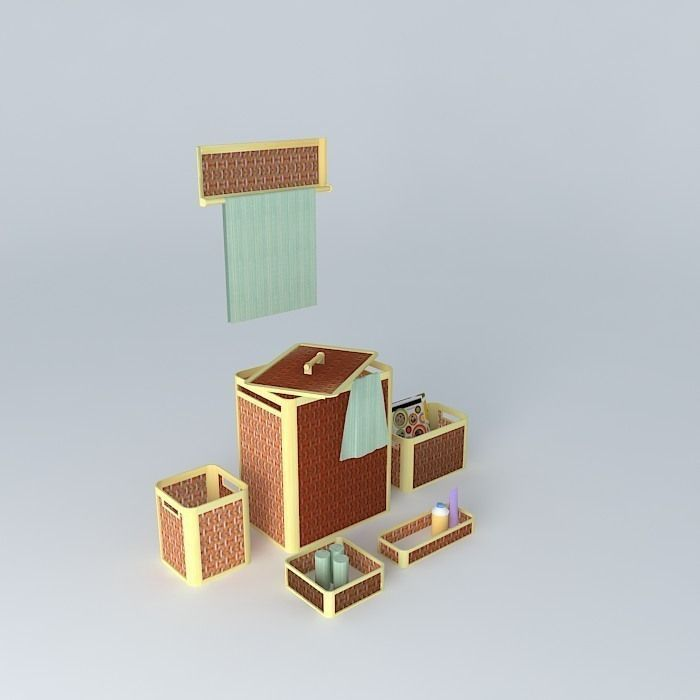 Bathroom Accessories 3d Model bamboo bathroom accessories 1 3d model | cgtrader