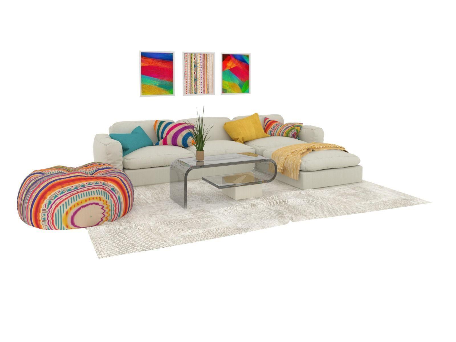 Living Room Modern Sofa Set 3d Model
