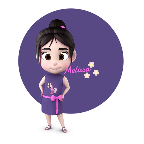 melissa stylised girl kid character 3d model max obj 3ds fbx ma mb 1