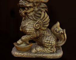 3d asset liondragon statue realtime
