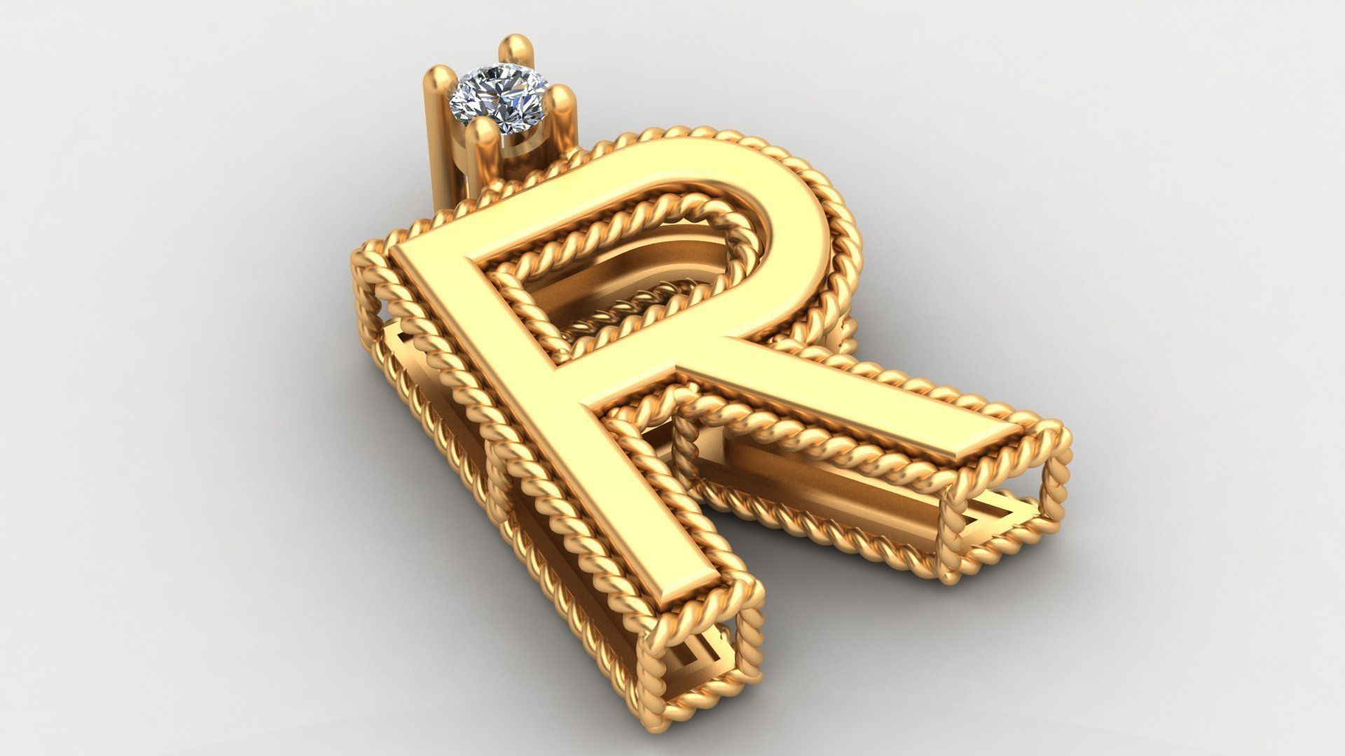 R Letter Roberto Coin Gold Diamond Pendant