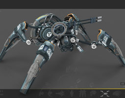 spider drone v6 cybertech - animated low-poly 3d asset