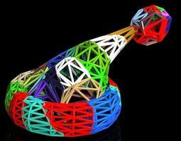multicolor voronoi santa hat 3d printable model