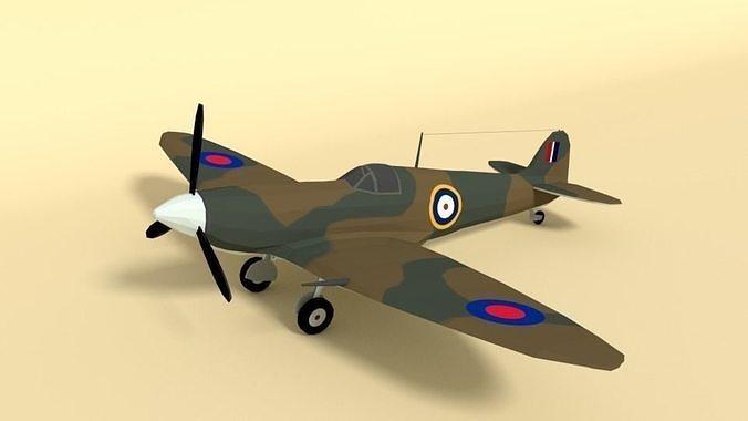 Low Poly Cartoon Supermarine Spitfire MKII  Airplane