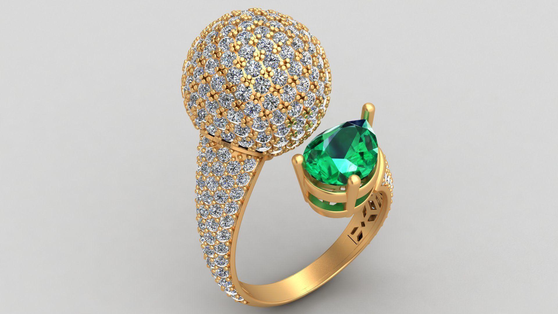 De Grisogono Boule Collection Emerald Diamond Gold Ring