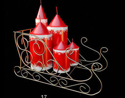 christmas red candles  3d