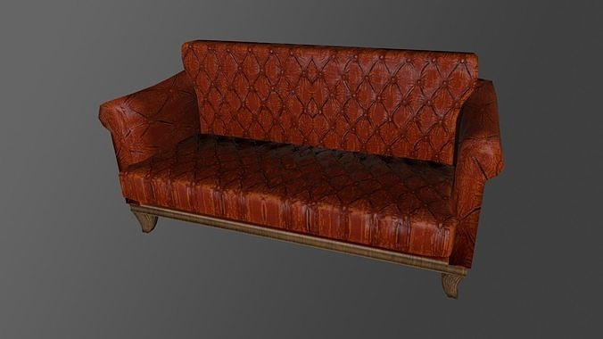 Two-seater sofa Low-poly 3D model With PBR Textures