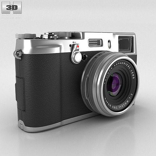 fujifilm finepix x100s silver 3d model max obj 3ds fbx c4d lwo lw lws 1