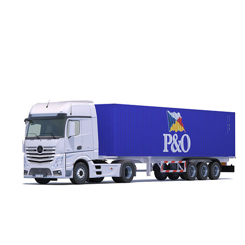 actros mp4 with 10 containers 3d model low-poly max obj mtl 3ds fbx lwo lw lws 1