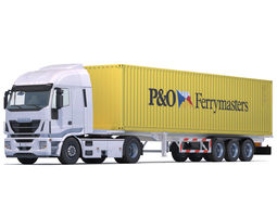 3D asset Iveco Hi Way with 10 Containers